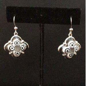 Murano Millefiori diamond shape silver earrings